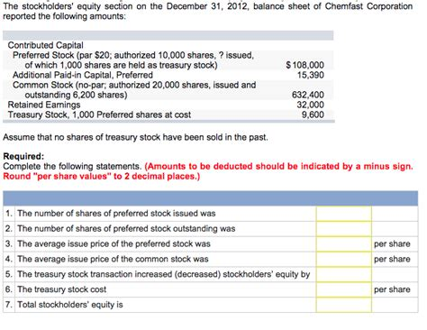 Llc Balance Sheet Equity Section by The Stockholders Equity Section On The December 3