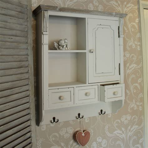 country bathroom shelves cream wall mounted cupboard with hooks french country