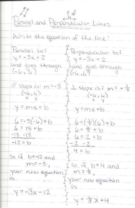 Parallel And Perpendicular Graphs Worksheet