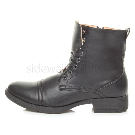 mens low boots mens low heel biker lace up zip army combat ankle