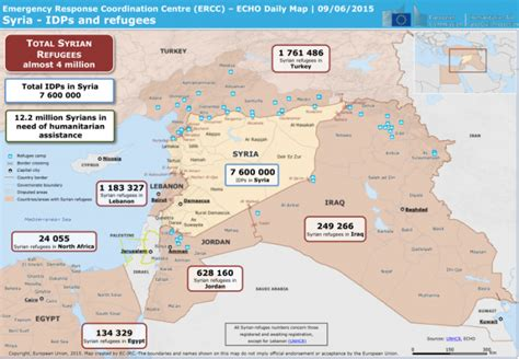 Syria Serut Daily 3 syria idps and refugees echo daily map 09 06 2015 syrian arab republic reliefweb
