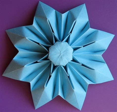 Single Sheet Origami - ornament single sheet 8 petals flower 3d origami