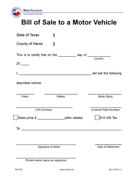 printable bill of sale of motor vehicle sale archives carspart