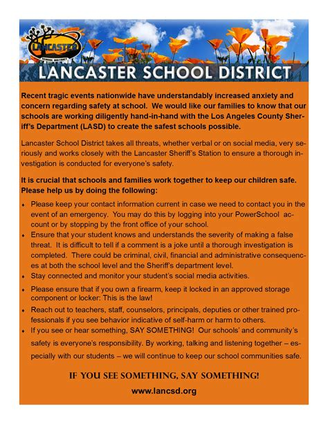 Parent Letter Caaspp lancaster alternative and academy homepage