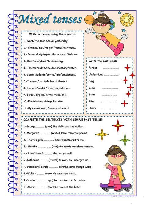 mixed tenses worksheet free esl printable worksheets