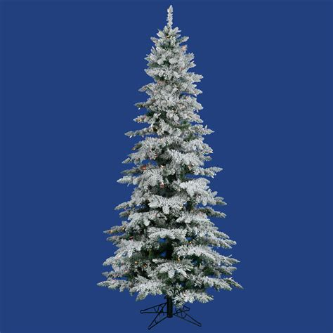 pre lit multi color led slim christmas tree 9 foot slim flocked utica fir tree multi colored leds a895082led