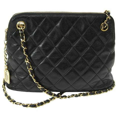 Chanel Black Quilted Purse by Chanel Black Quilted Medium Lambskin Leather Chain Handbag