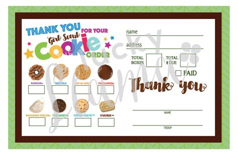 scout cookie receipt template 2017 scout cookie thank you order form receipt