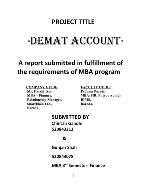 Mba 4th Sem Project Report In Finance by Project Report Of Khan