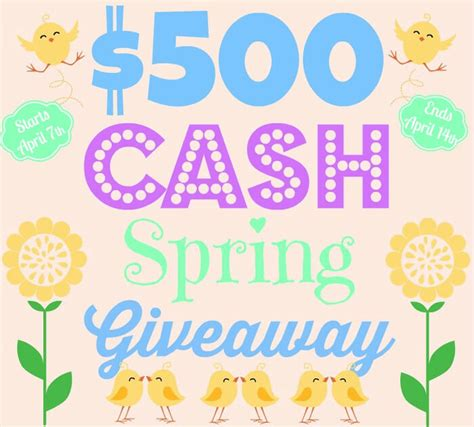 Today Great Cash Giveaway - 500 cash spring giveaway persia lou