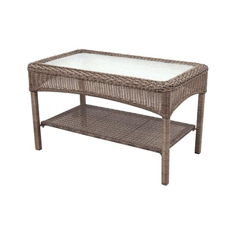 Porch Coffee Table Charlottetown All Weather Wicker Patio Coffee Table 32 25 129 Homedepot