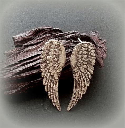Anting Angelwings Earrings items similar to wing earrings wing stud earrings with sterling silver post on etsy