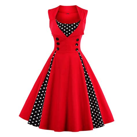 Patchwork Womens - womens vintage dress polka dots patchwork 50s 60s 70s