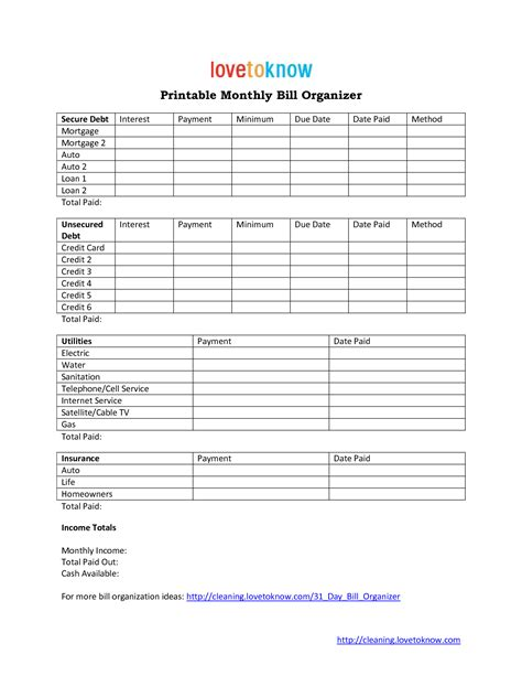 monthly bill organizer template free 9 best images of free household organizer printables