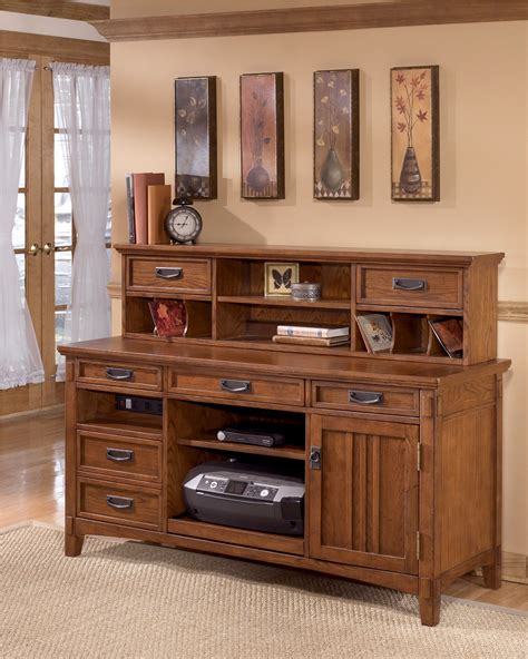 office furniture desk and credenza cross island large credenza w low hutch from ashley h319