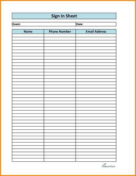 free printable blank sign up sheet student handouts clever