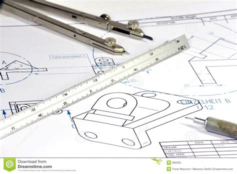 Draw House Plans To Scale mechanical engineer 005 royalty free stock photo image