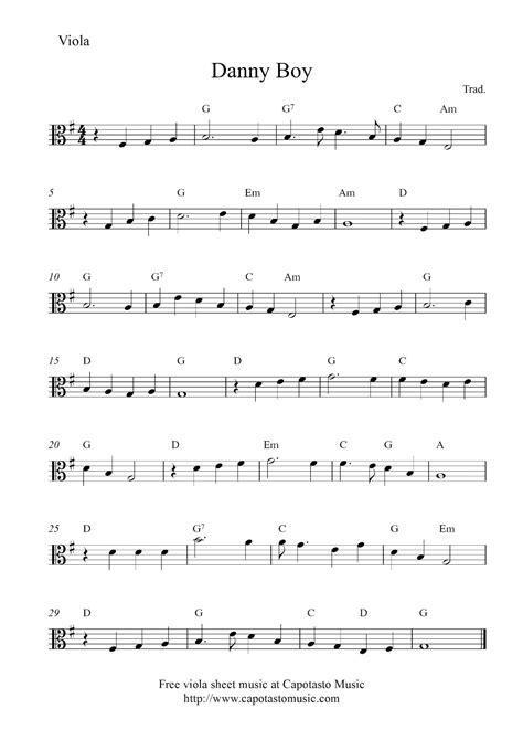 free printable sheet music viola free viola sheet music score danny boy