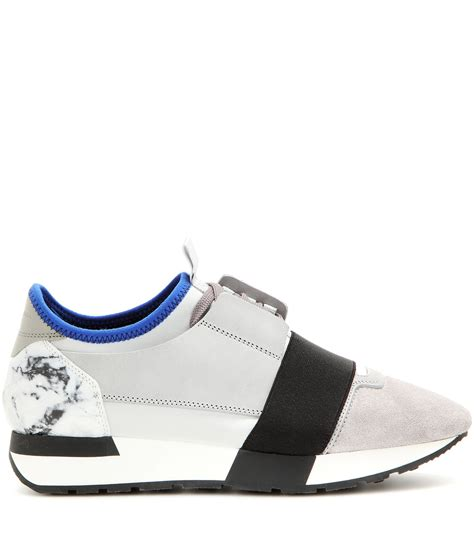 lyst balenciaga race runner fabric leather and suede sneakers
