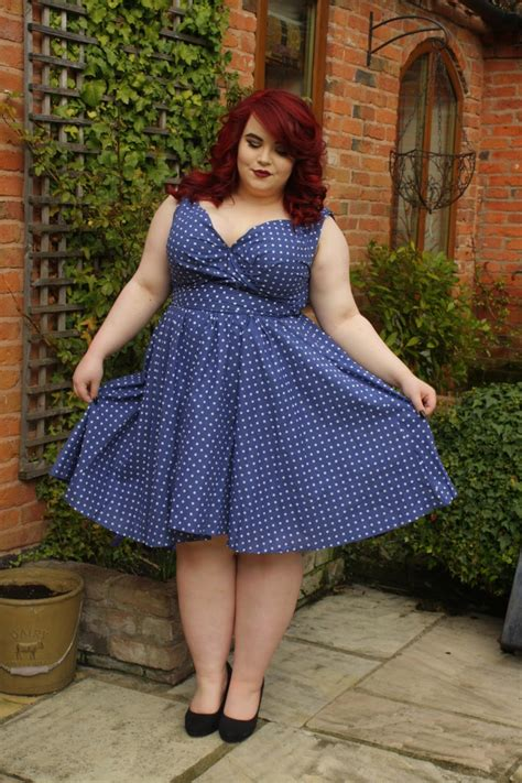 bbw 1950s hair styles bbw couture blue polka dot 1950s vintage party dress she