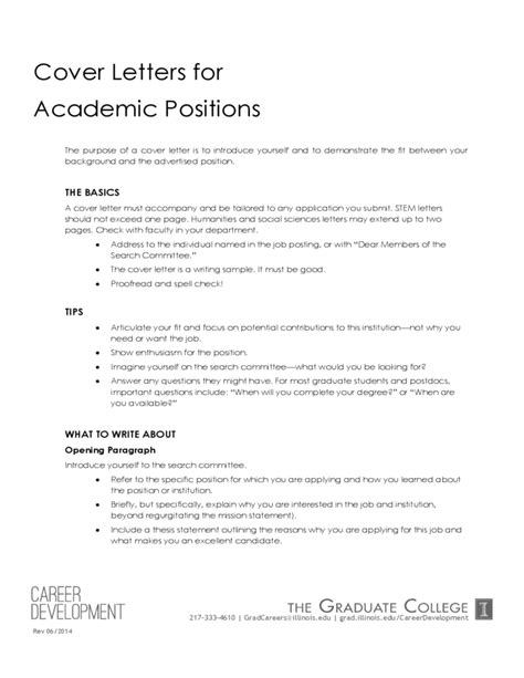 cover letter academic position college students tips and resources