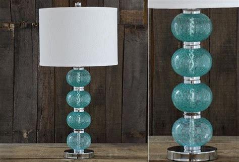 aqua glass table lamp antique farmhouse