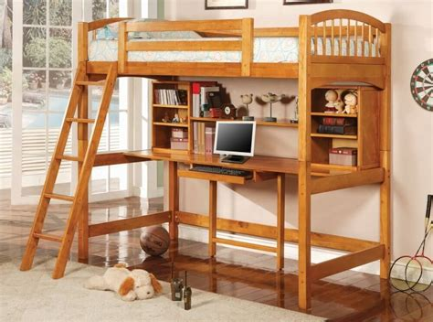 wooden loft bed full size wood full size loft bed with desk underneath modern