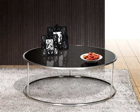 Black Glass Top Round Cocktail Table With Stainless Steel