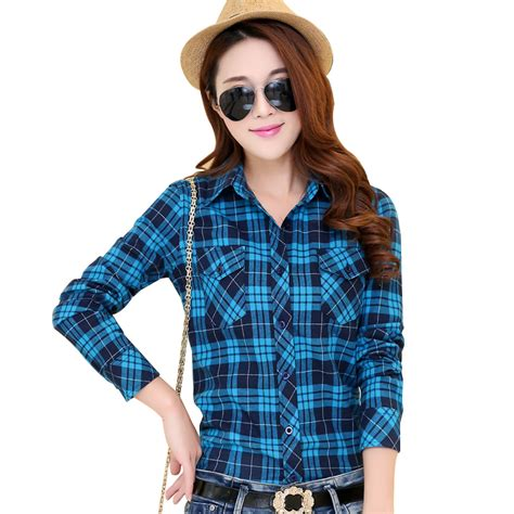 Sabrina Blouse Casual Flanel 2016 autumn new arrival flannel plaid shirt casual cotton plus size sleeve blouses