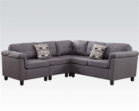 acme furniture gray sectional sofa cleavon ac51550
