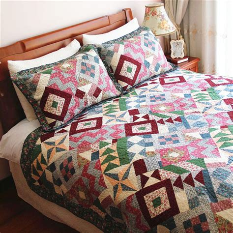 Quilted Comforter Sets by Luxury Pastoral Purple Quilted Patchwork Bedspreads