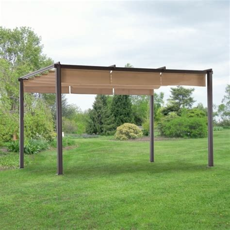 Hton Bay Steel Pergola With Canopy Pergola Gazebo Ideas Pergolas With Canopy