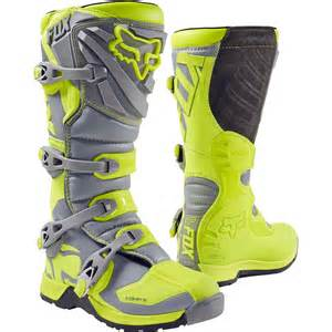 2017 Fox Comp 5 Youth Mx Motocross Boots Yellow Grey