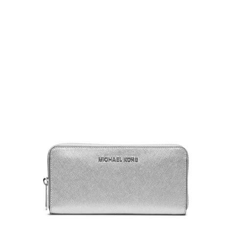 Silver Wallet michael kors jet set travel metallic leather continental