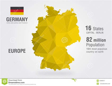 germany on world map germany world map with a pixel pattern stock