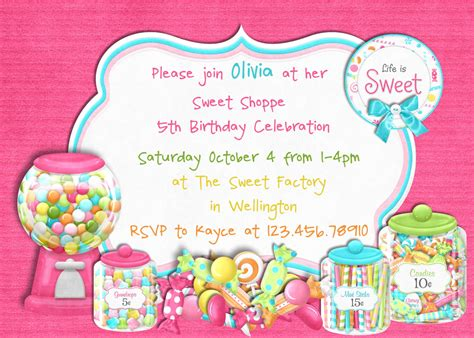 printable lollipop birthday invitations candy sweet shoppe girl birthday invitation by 3peasprints