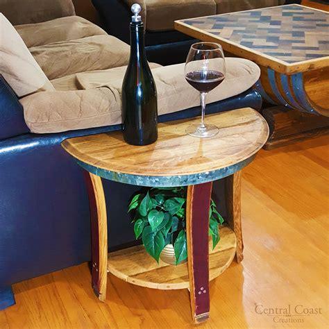 half wine barrel table small half moon wine barrel end sofa chair side wall table