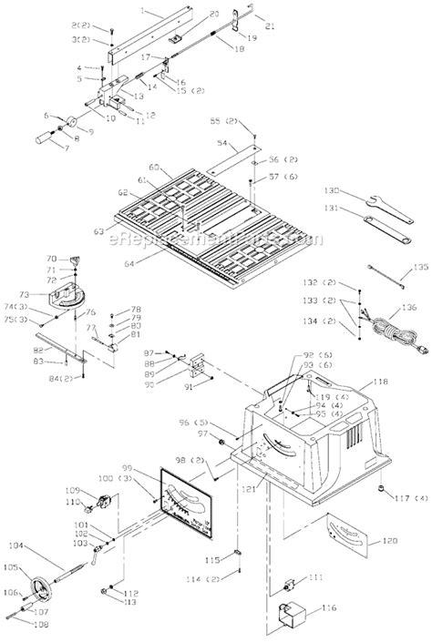 delta bench saw parts delta 36 540 parts list and diagram type 2