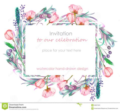 Template That Says Cards Glowers by Card Template With The Floral Design Berries