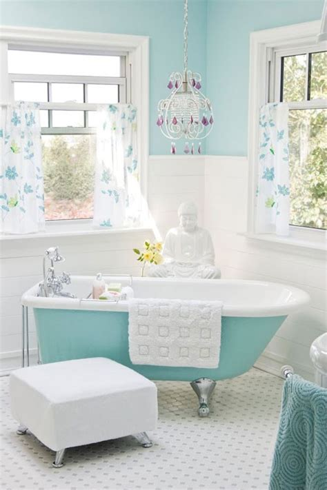 light aqua blue white bathroom eclectic living home