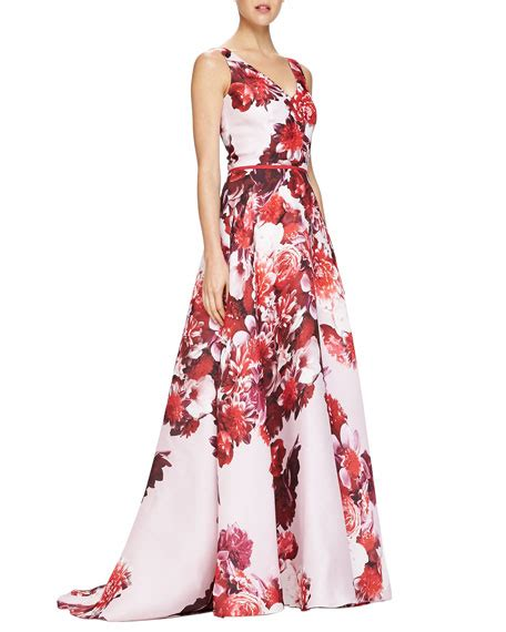 Longdress Diana Back carolina herrera sleeveless floral print v neck gown