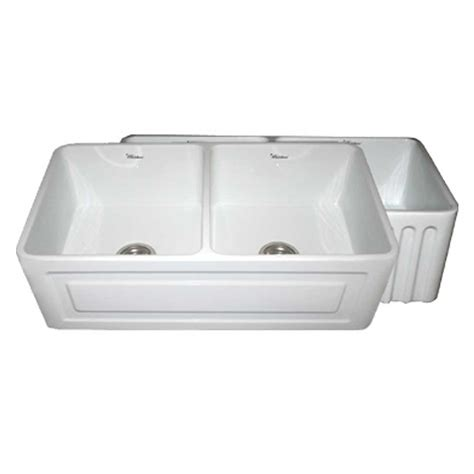 Whitehaus Collection Quatro Alcove Reversible Farmhaus Apron Front Kitchen Sink White