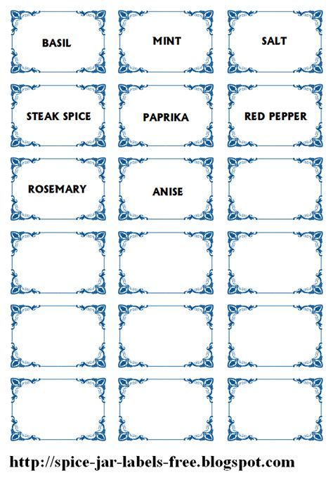 jar label templates spice jar labels and templates to print free spice jar