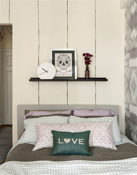 purple bedside table ls how to live stylishly in a studio apartment the everygirl
