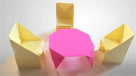 How To Make An Origami Table - how to make origami table and chairs step by step paper