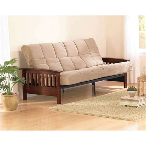 futon walmart better homes gardens mission wood arm futon heirloom