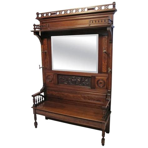 hall rack bench large victorian walnut hall bench coat rack at 1stdibs