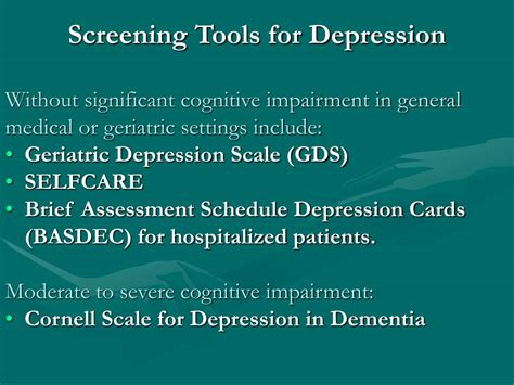l for depression ppt tool on depression assessment and treatment for