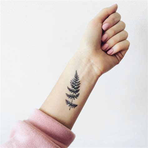 set of 2 fern temporary tattoo pattern tattoo temporary tattoo
