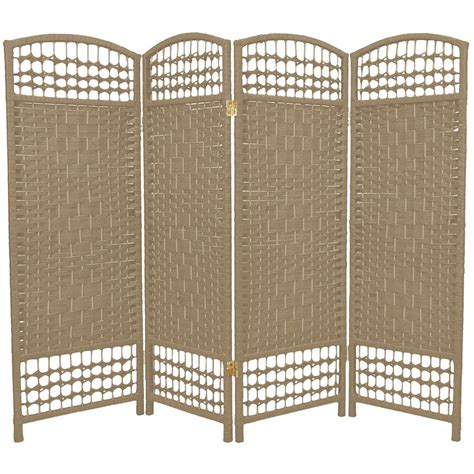 Screen Room Divider 4 Panel Interwoven Mediterranean Folding Screen Room Divider Wicker Straw